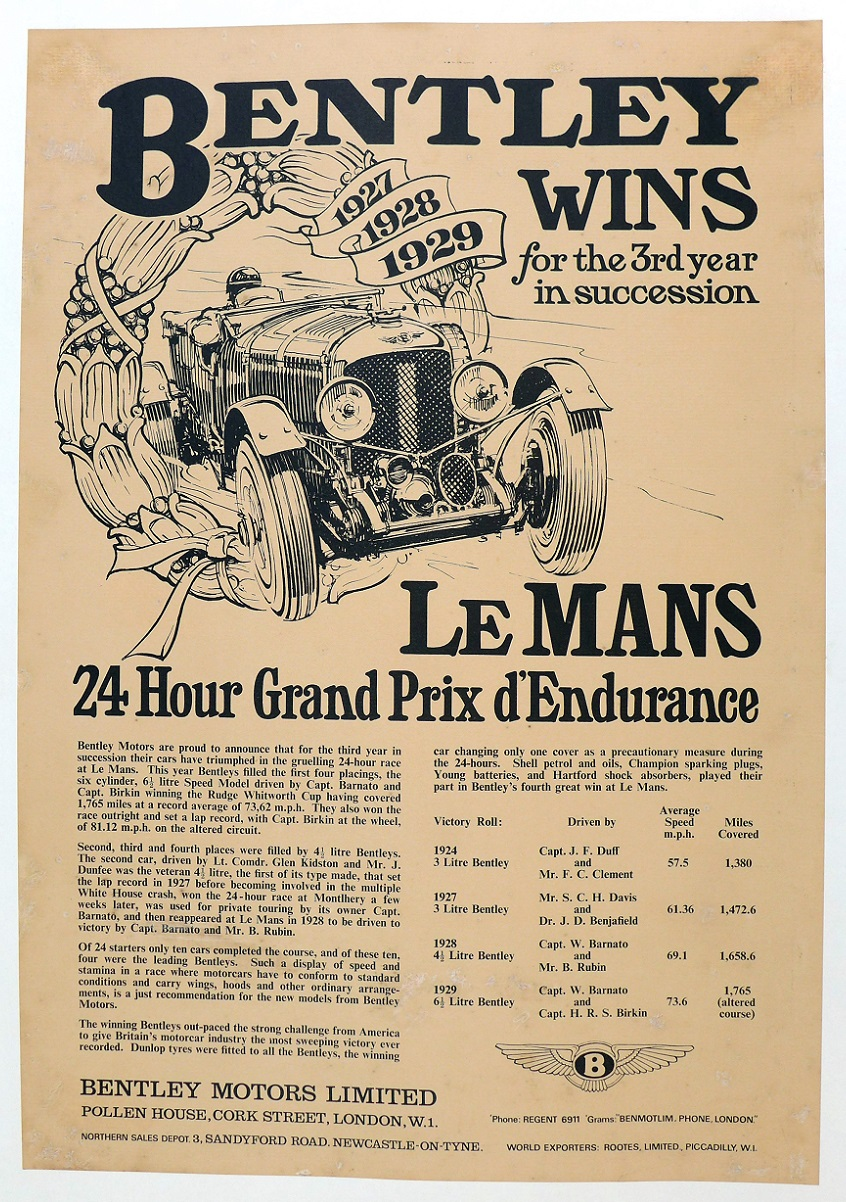 Bentley Wins Le Mans Factory commemorative poster 1924, 1927, 1928, 1929