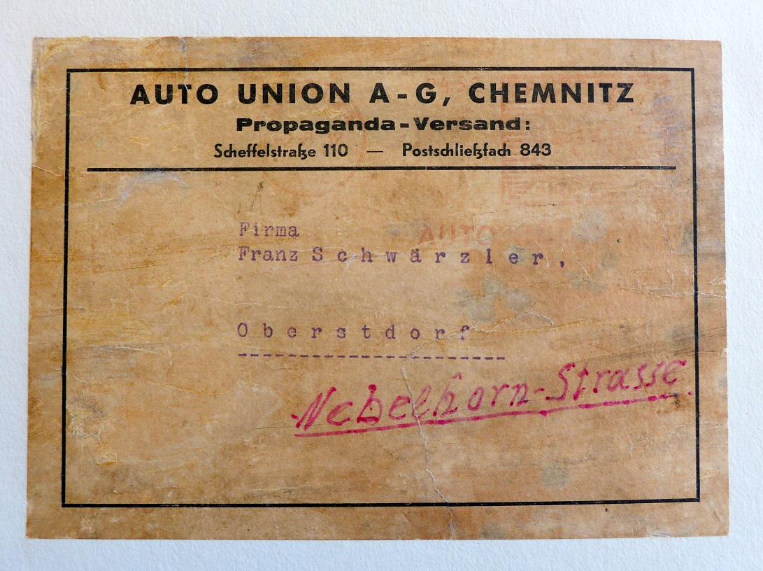 1937 Grosser Bergpreis Germany Auto Union original vintage race commemorative poster shipping label