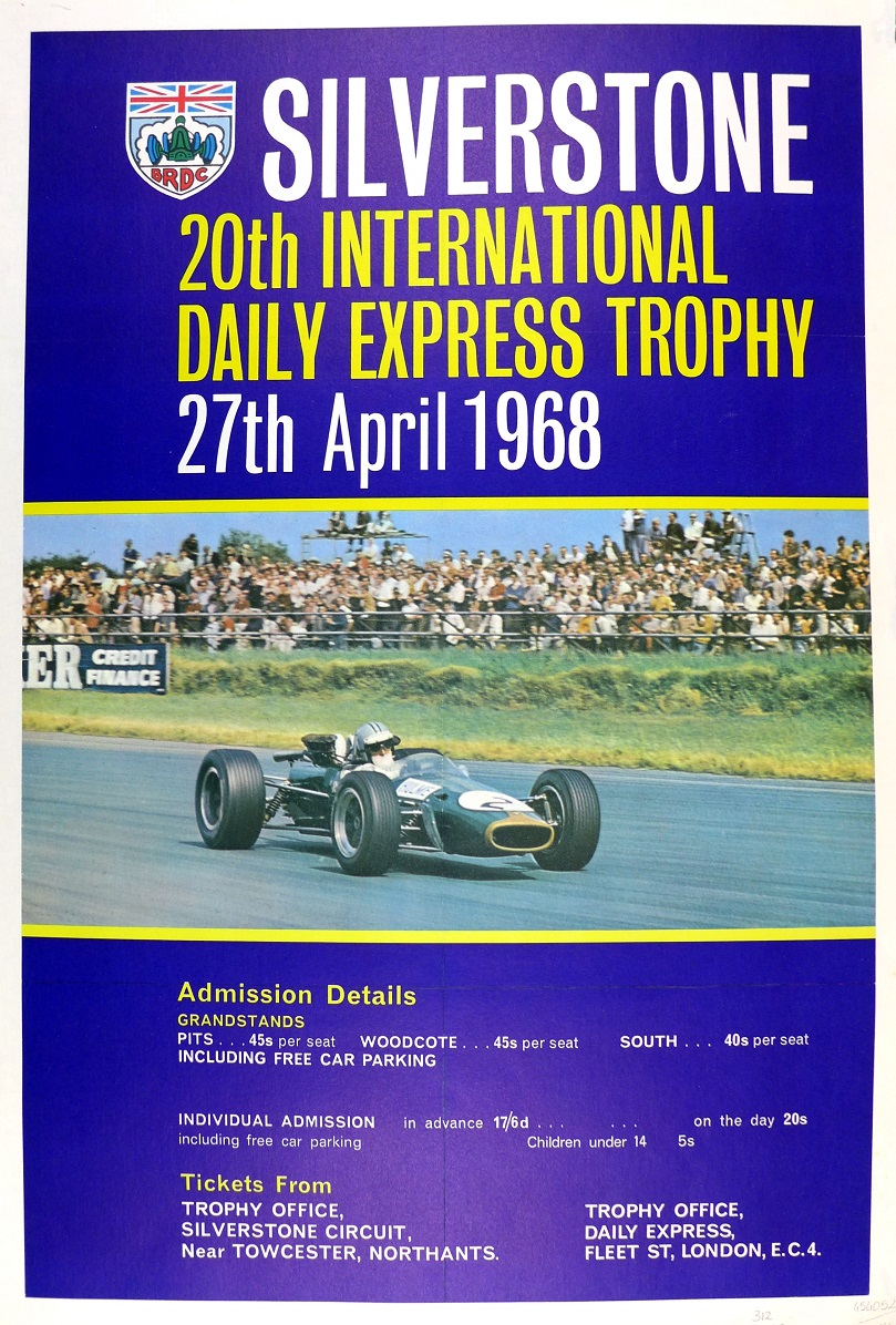 1968 Silverstone Daily Express race poster Hulme