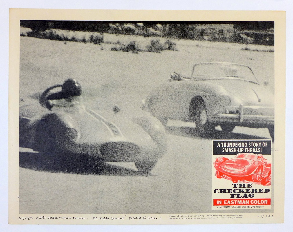 The Checkered Flag original vintage advertising poster, with Porsche Convertible D