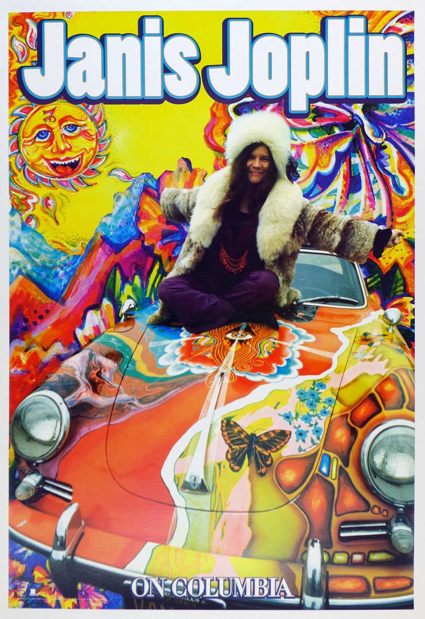 Janis Joplin on Columbia original vintage advertising poster 356 C Cabriolet Jim Marshall