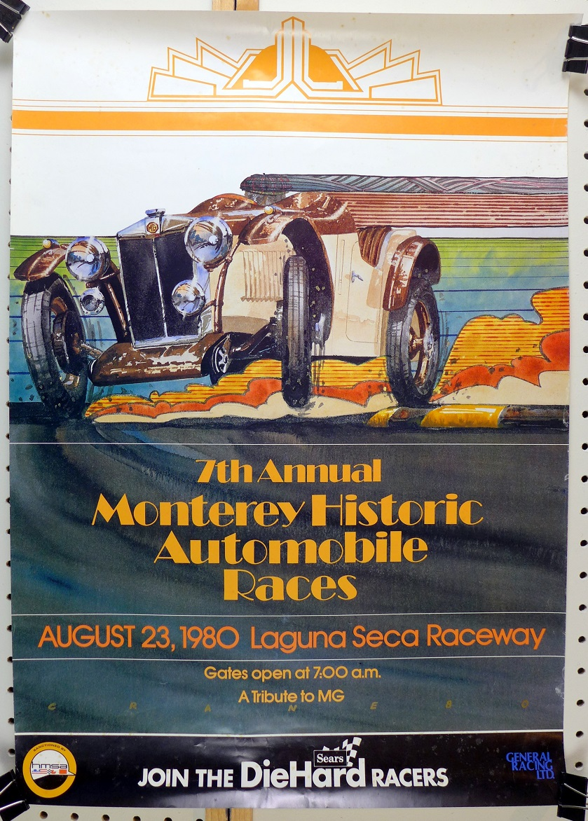 1980 Monterey Historic car races original vintage event poster