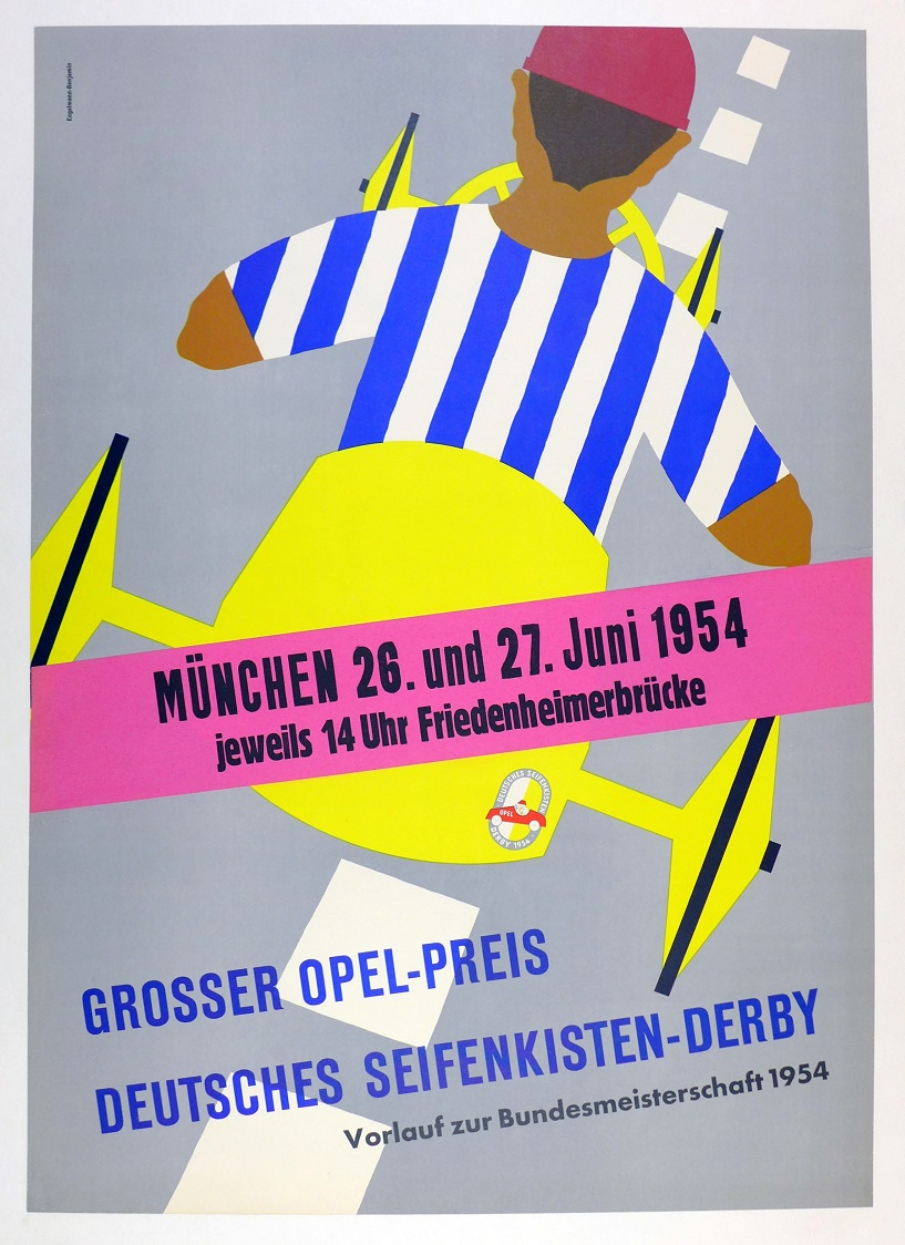 Soap Box Derby racing event poster original vintage Germany 1954
