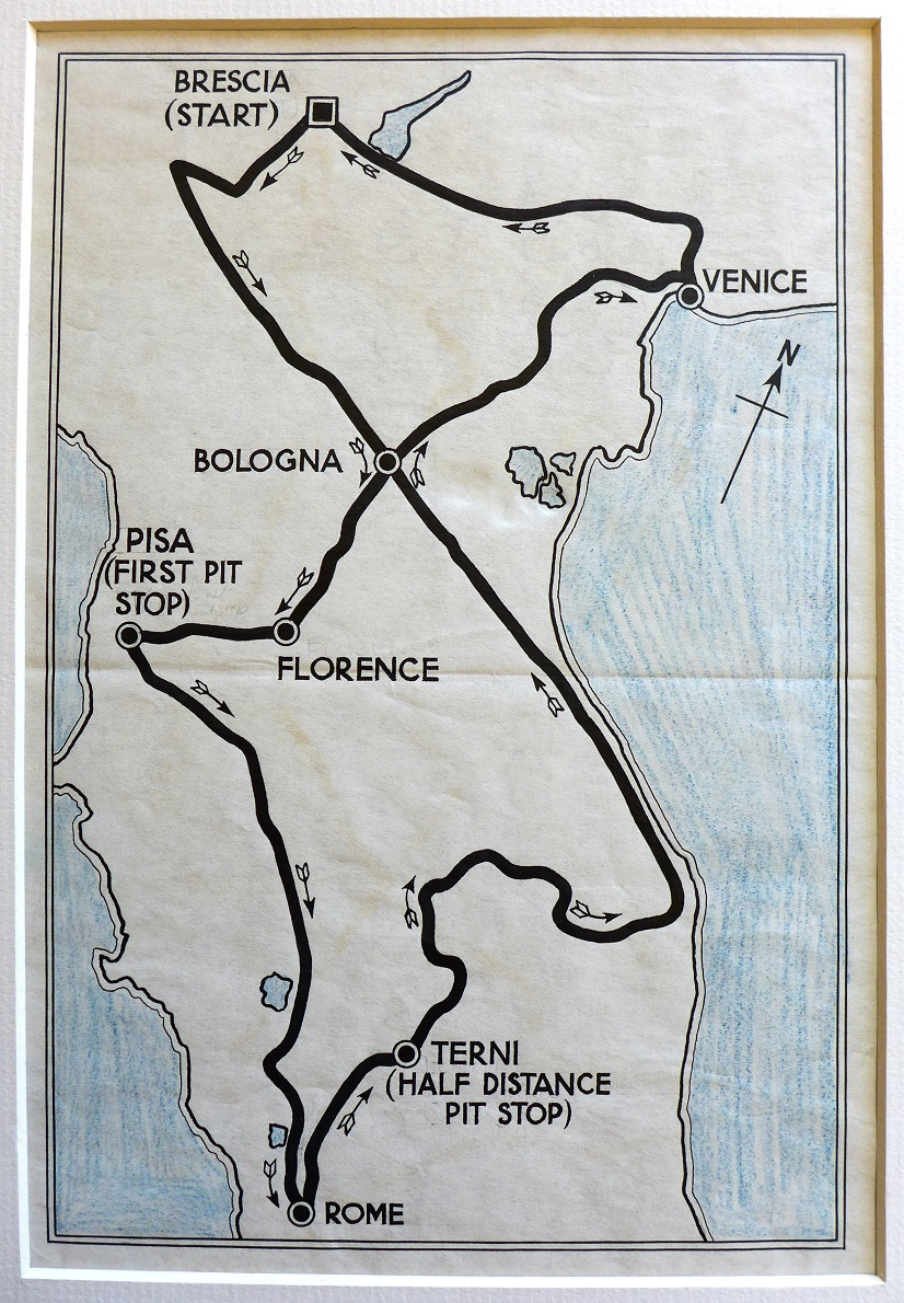 Mille Miglia original vintage route map