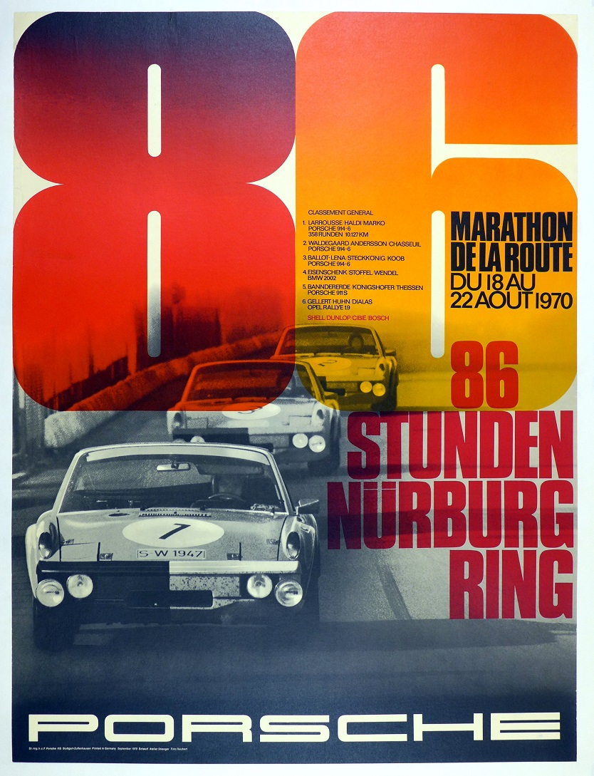 1970 86 Hours Nurburgring original vintage race commemorative poster Porsche Factory 914/6