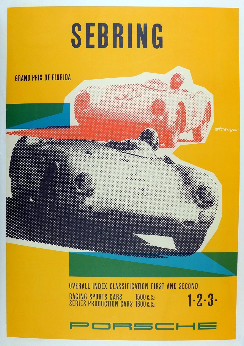 Sebring 1957 original vintage Porsche Factory commemorative race poster