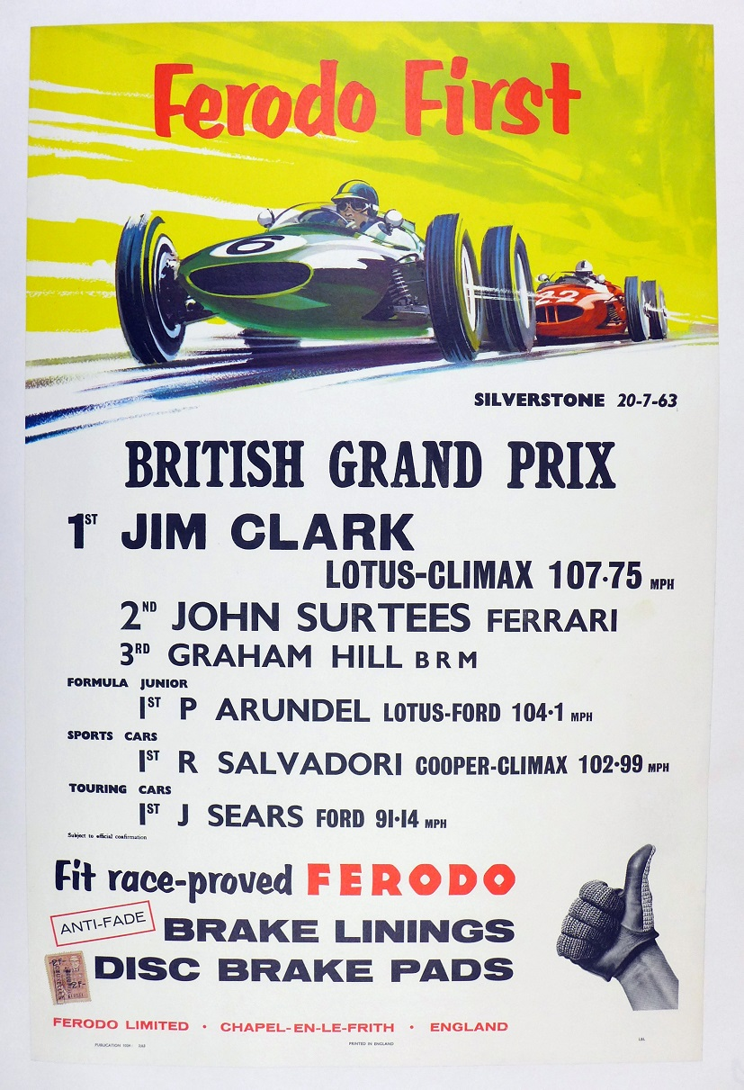 1963 British Grand Prix Silverstone original vintage auto race commemorative poster Ferodo Jim Clark John Surtees Graham Hill Peter Arundel Roy Salvadori Jack Sears