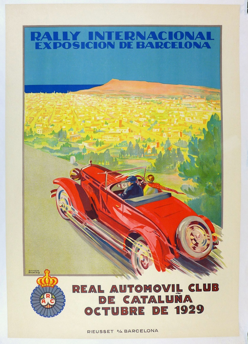 Rally Internacional 1929 original vintage auto event poster Barcelona