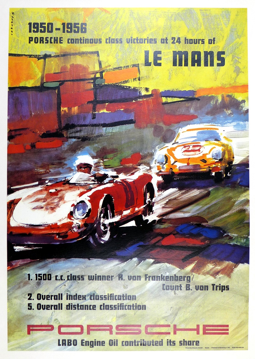 LeMans 1950-1956 Porsche Factory re-issue auto race commemorative poster