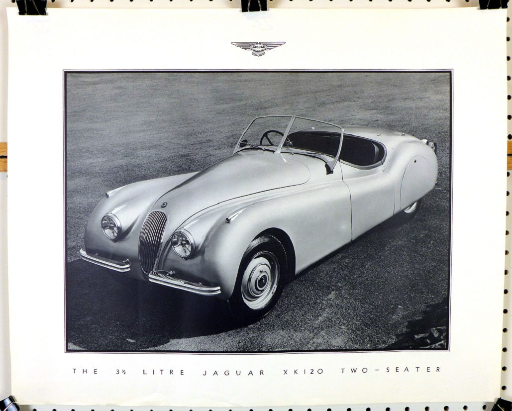 Jaguar 3 1/2 litre XK120 Two Seater original vintage Factory showroom poster