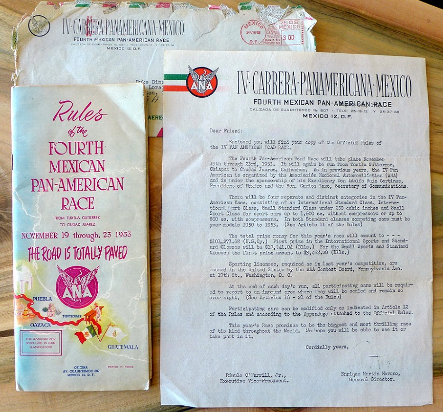 1953 Carrera Panamericana original vintage rules and regulations 4th running