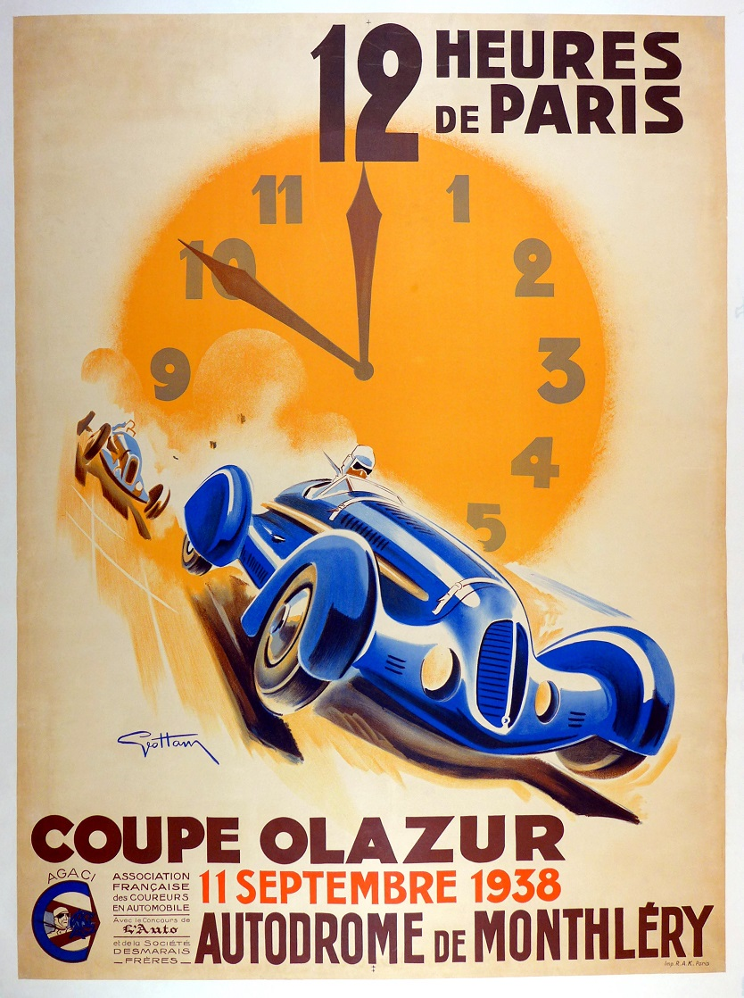 12 Hours Paris 1938 original vintage auto race event poster Geo Ham