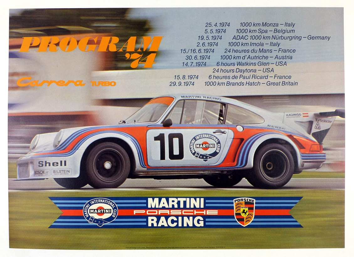 Martini Carrera RSR with race schedule original vintage poster