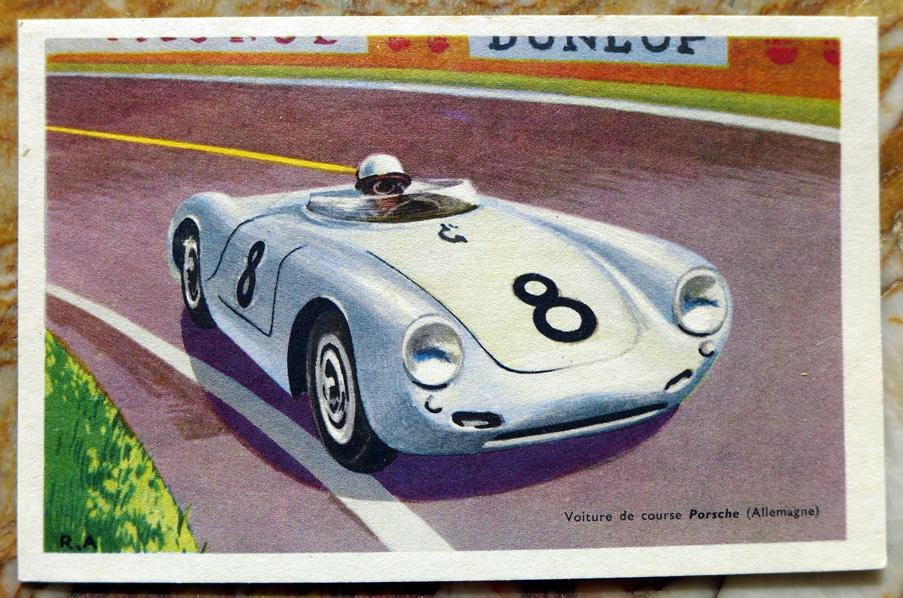 550 Spyder Porsche post card Chocolats Tobler