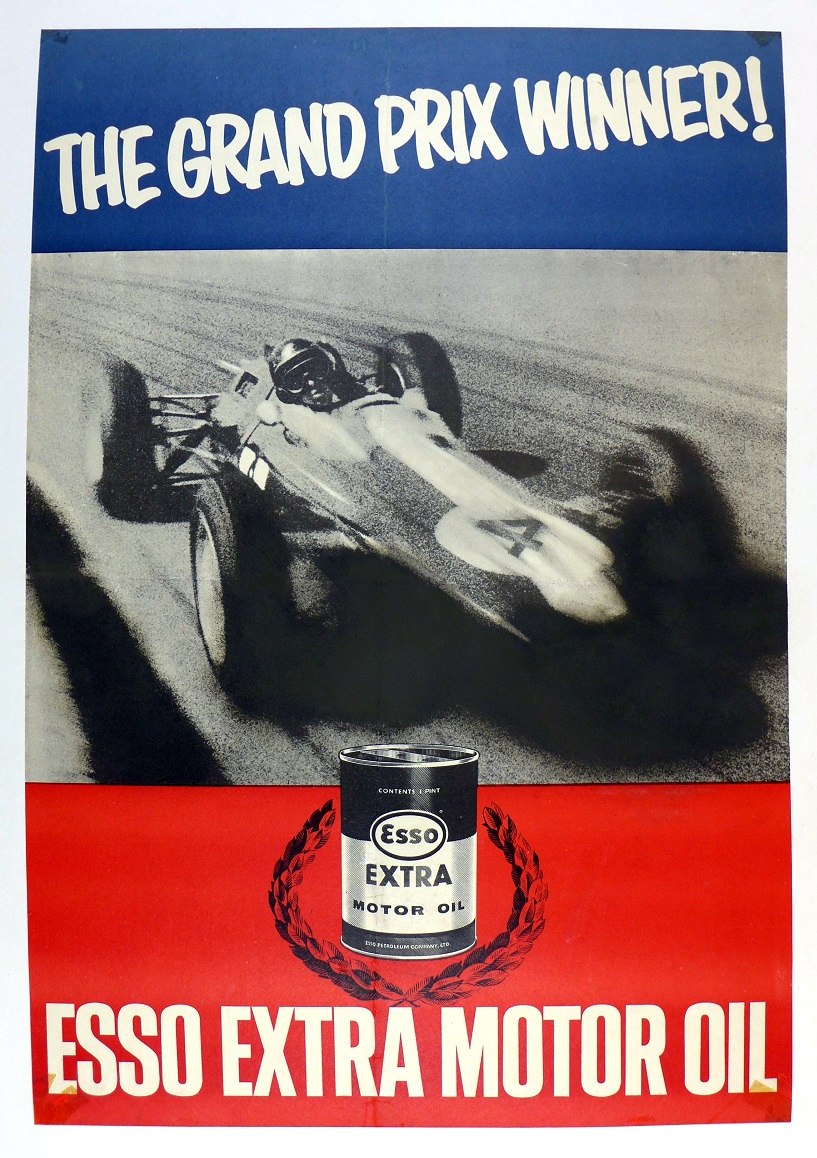 Grand Prix Winner Jim Clark original vintage auto racing commemorative poster Esso