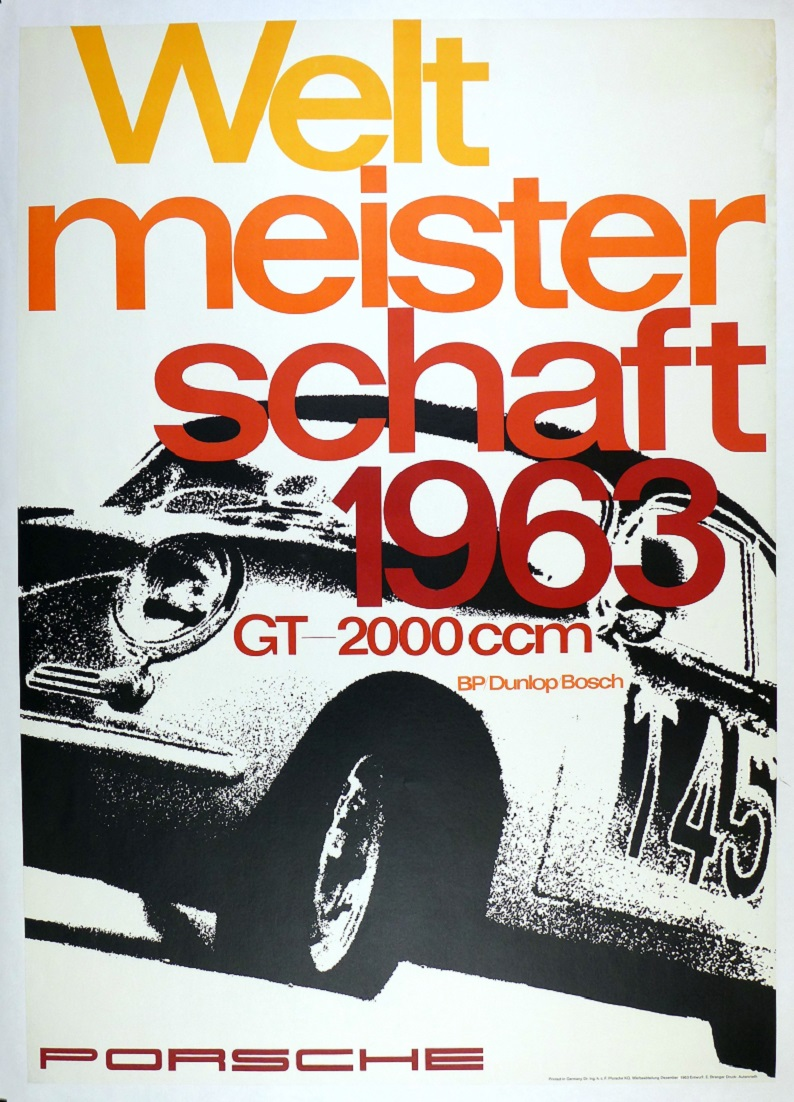 Weltmeisterschaft 1963 original vintage Porsche Factory commemorative poster Carrera 2