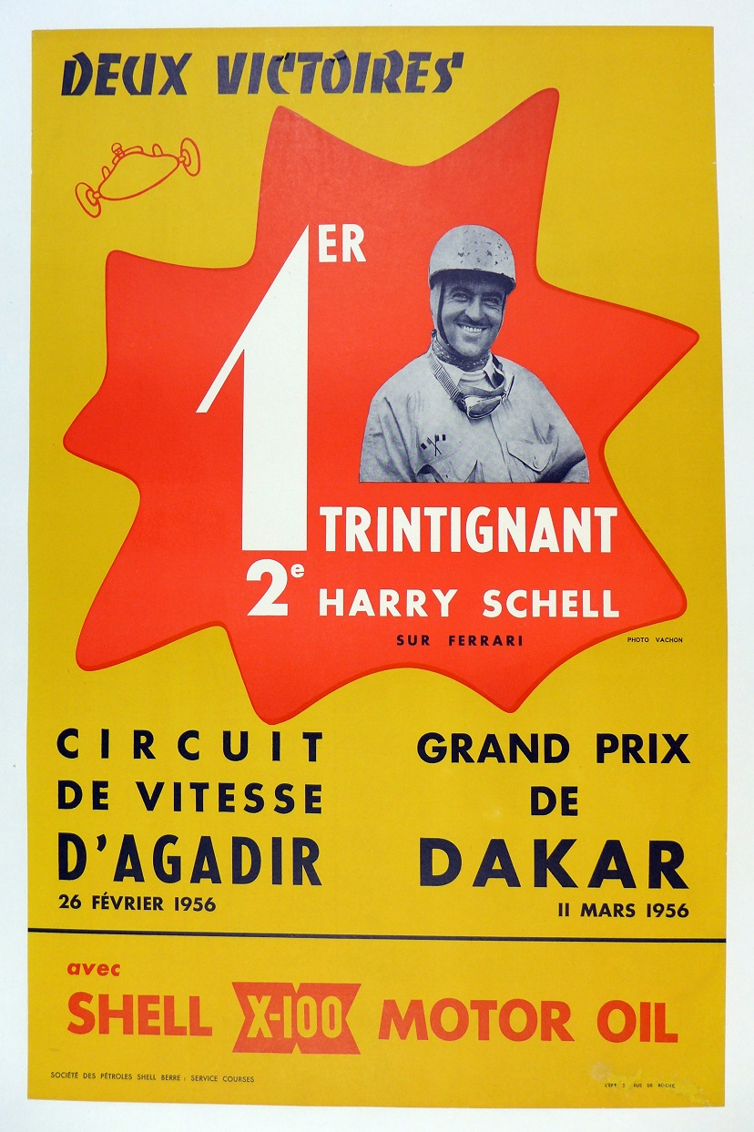 1956 Two Victories original vintage race commemorative poster Ferrari Trintignant Shell