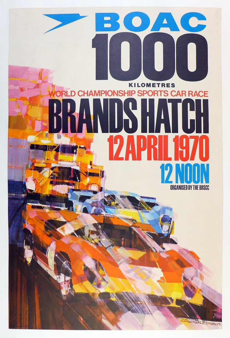 BOAC 1000 1970 Brands Hatch original vintage auto race poster
