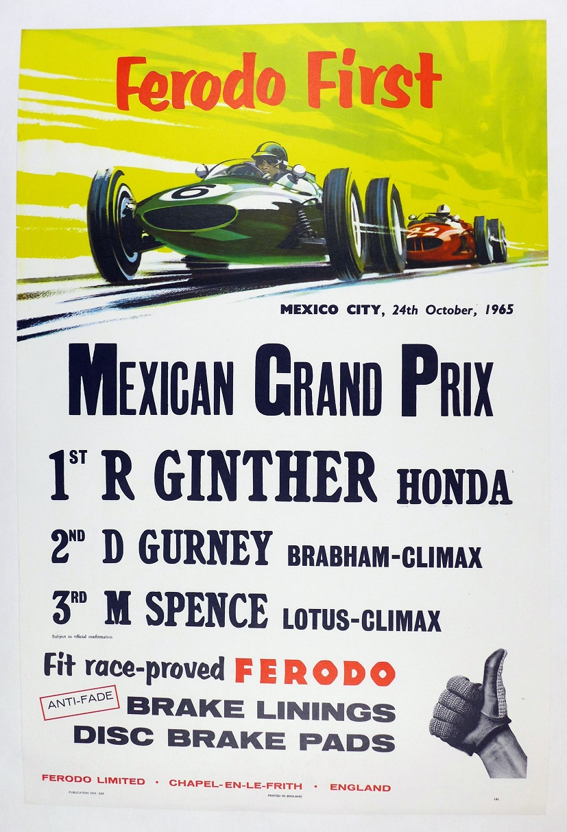 Mexico Grand Prix 1965 original vintage auto race commemorative poster Ferodo Honda Ginther