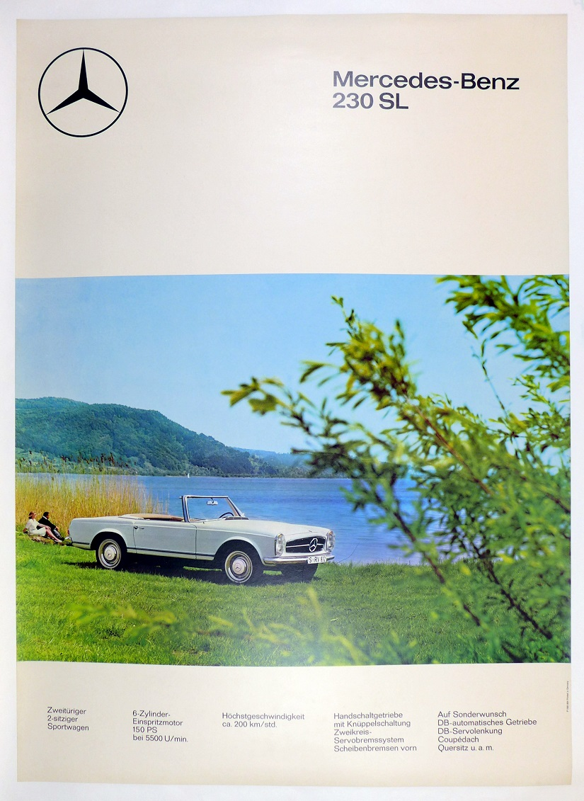 Mercedes 230 SL original vintage showroom advertising poster