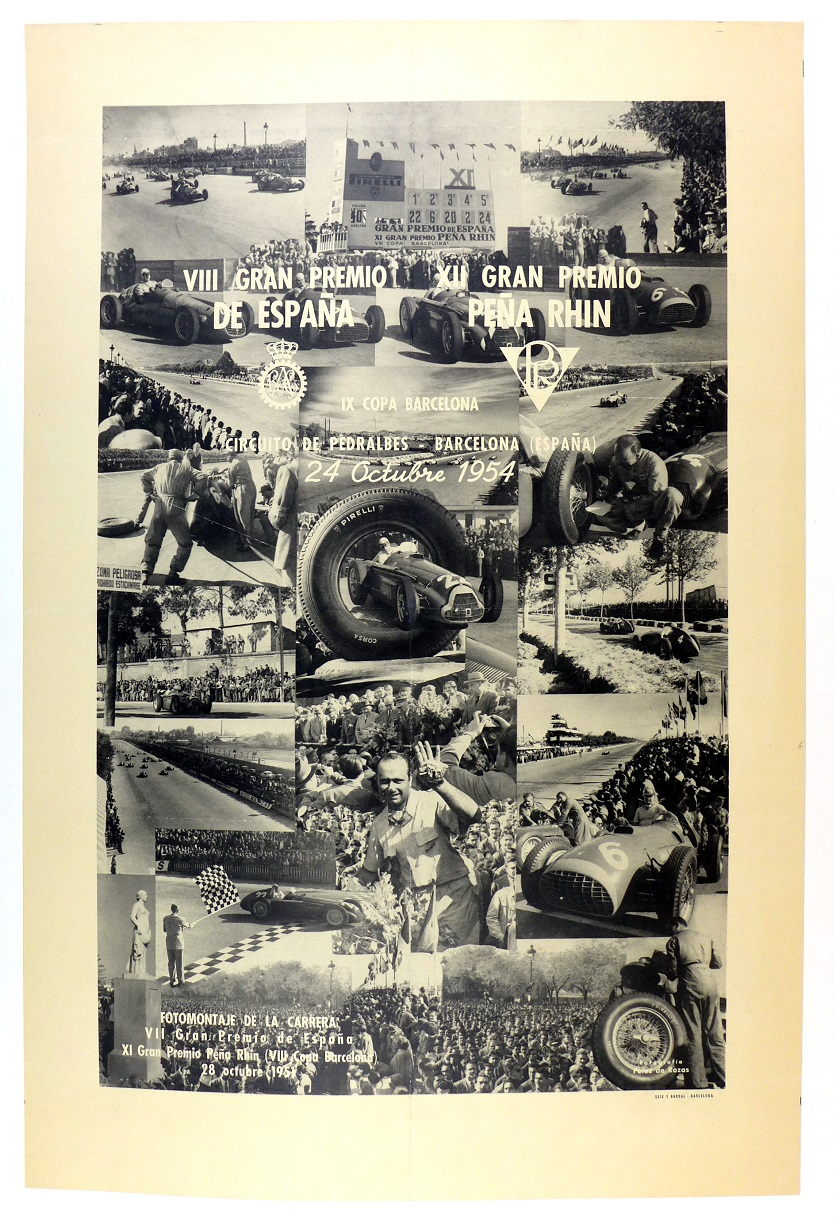 Grand Prix Spain 1954 Pena Rhin event poster