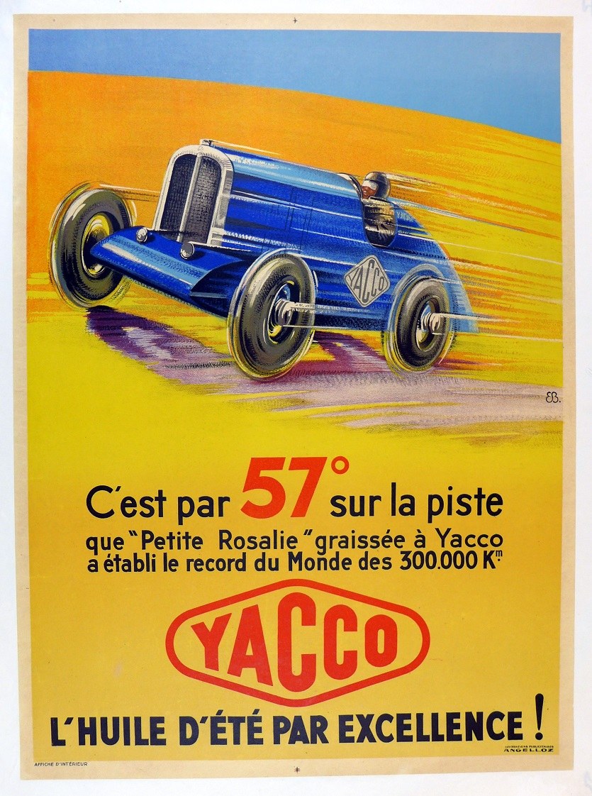 Yacco 1933 Petite Rosalie original vintage auto commemorative speed record poster