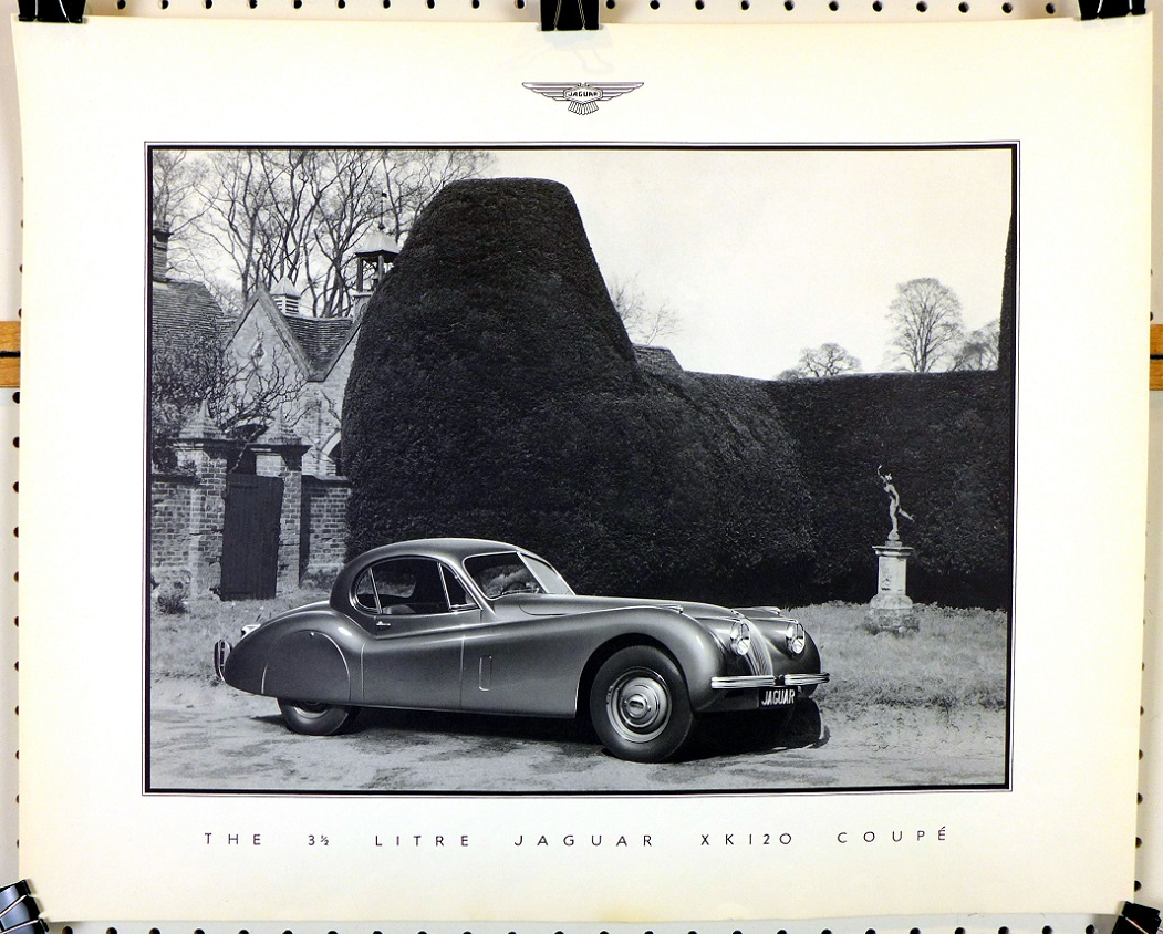 Jaguar 3 1/2 litre XK120 Coupe original vintage Factory showroom poster