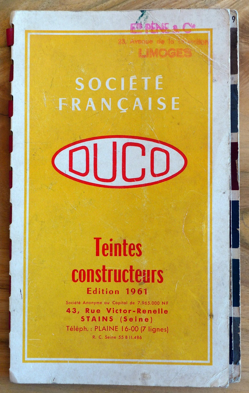 Duco Paint Sample book 1961 original vintage