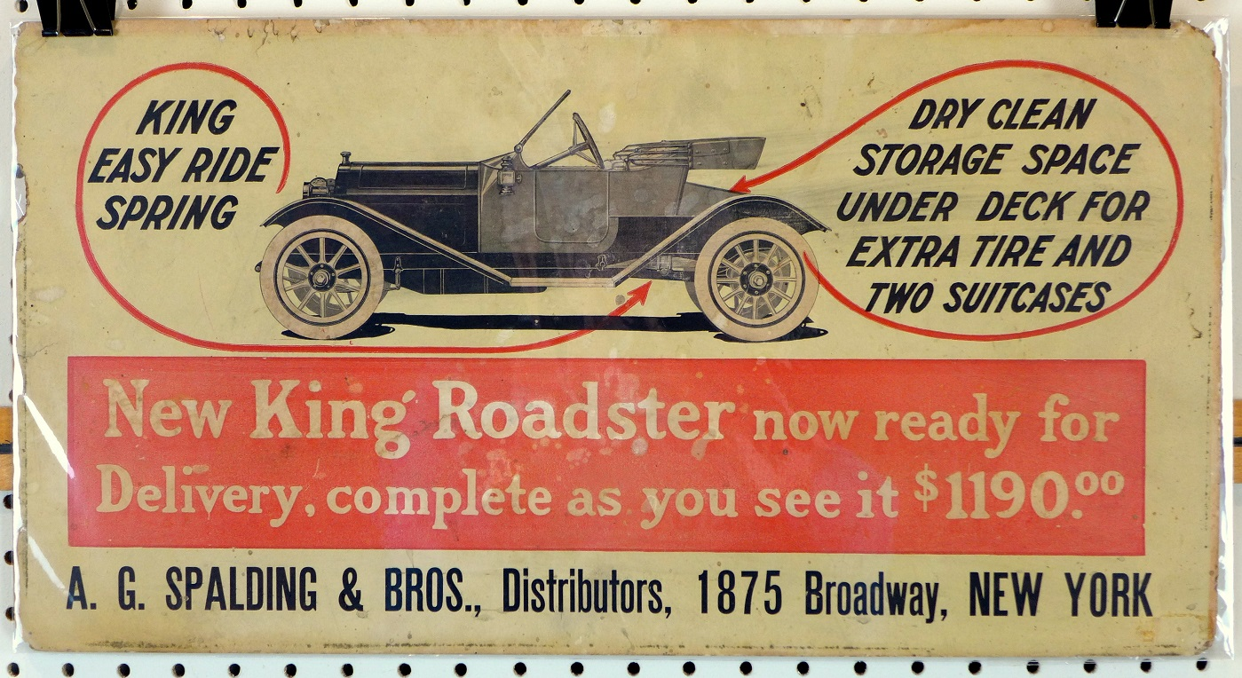 King Roadster original vintage auto advertising poster