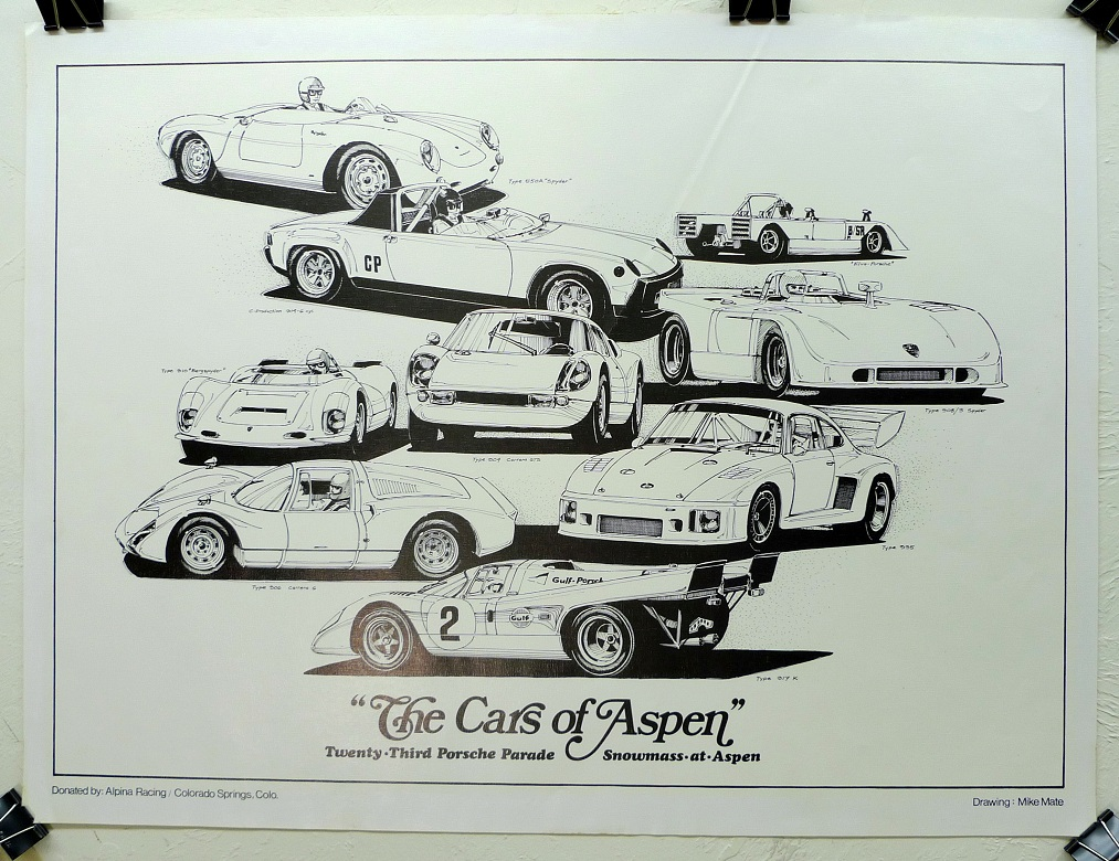 The Cars of Aspen 1978 Porsche Parade official vintage auto event poster