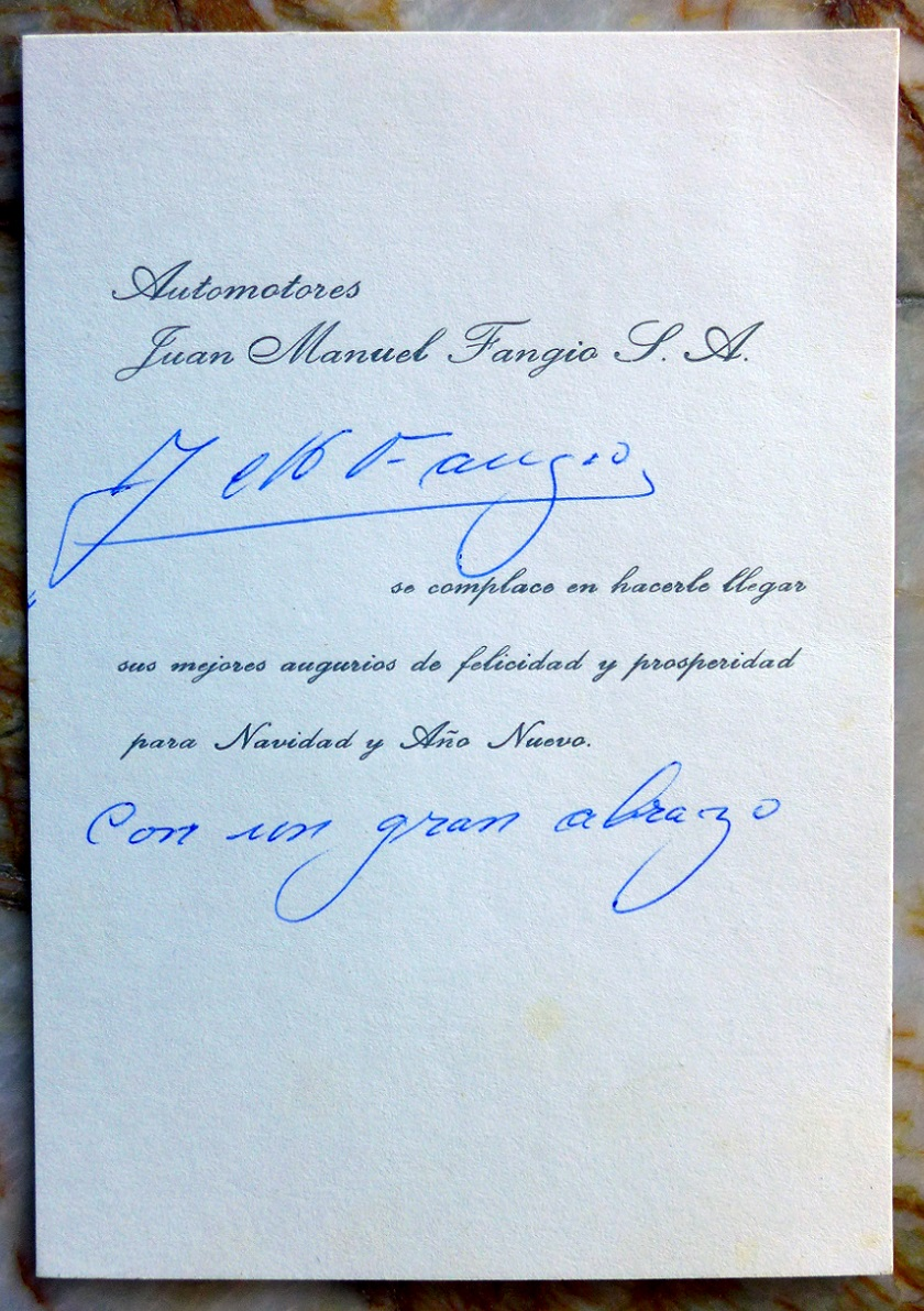 Juan Fangio original vintage hand signed Holiday card