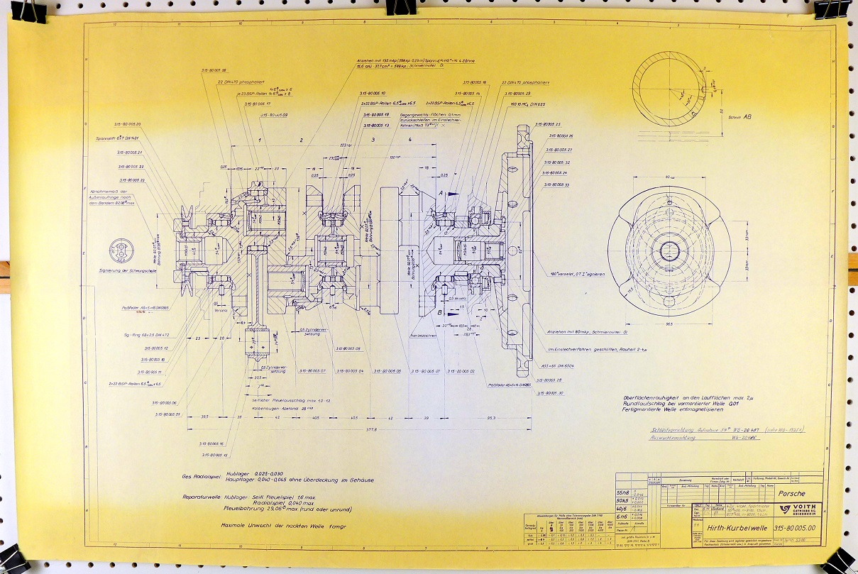 Hirth Porsche crankshaft blueprint for 1.5 and 1.6 liter motors
