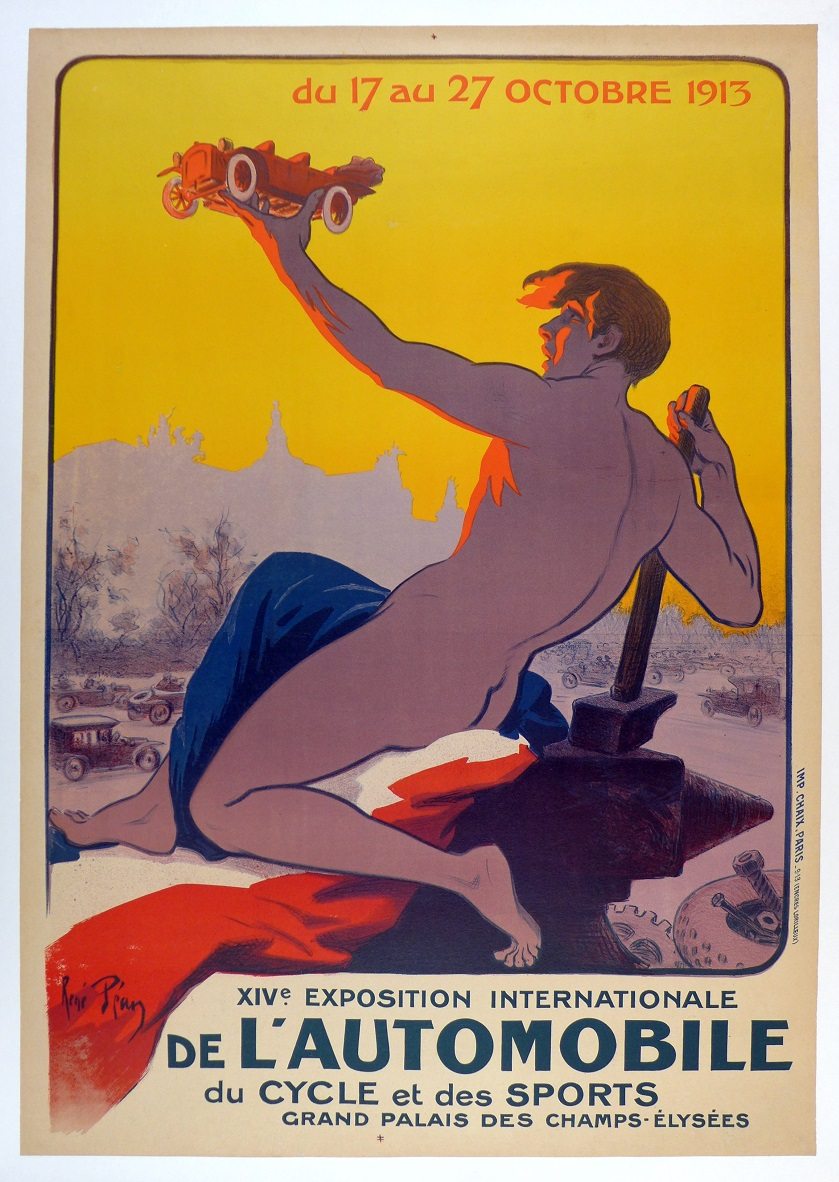 14th Paris Auto Salon 1913 original vintage event poster