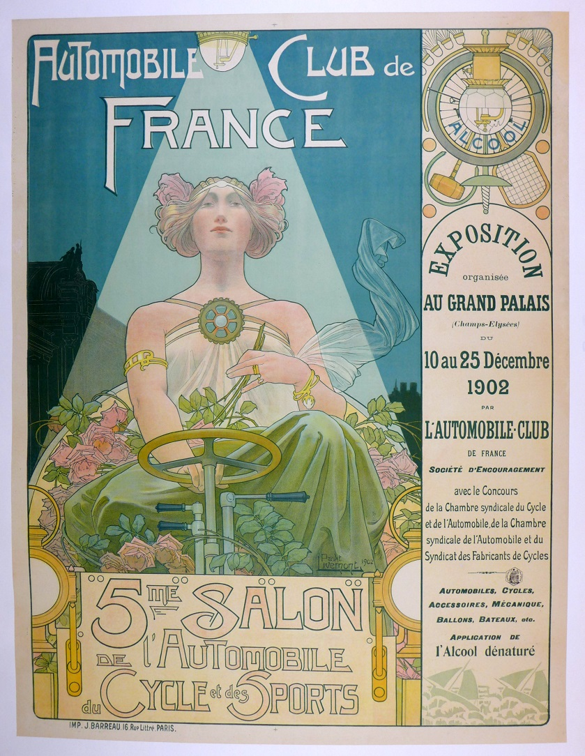 1902 Paris Auto Salon original vintage event poster