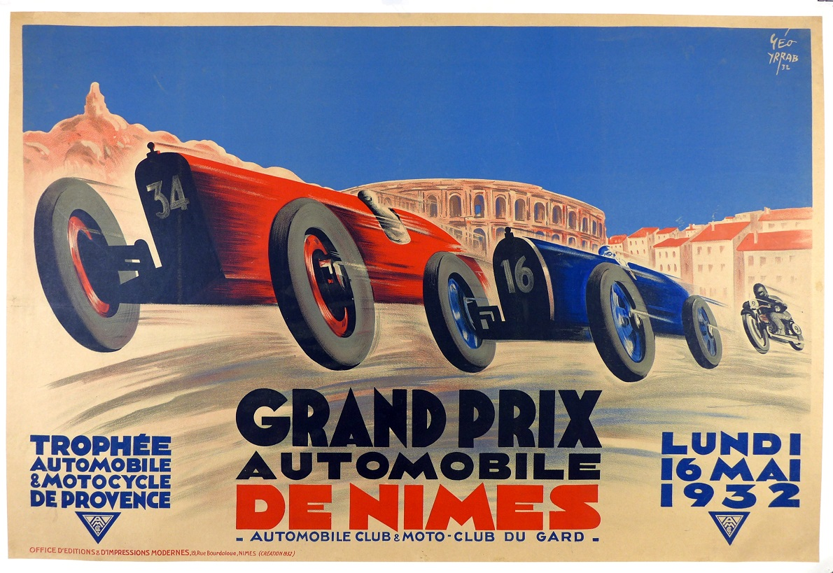 Grand Prix Nimes 1932 original vintage auto race event poster