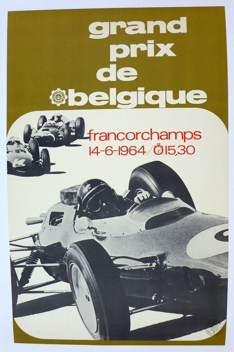 1964 Belgian grand prix event poster Jim Clark