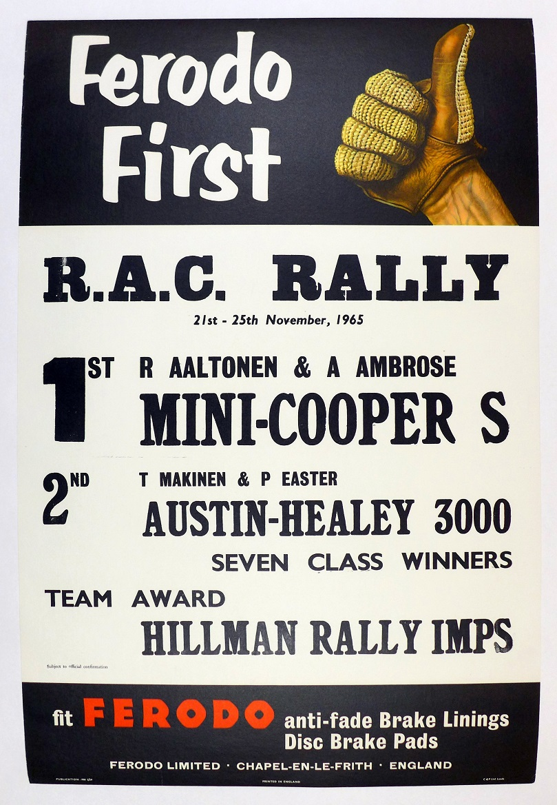 RAC Rally 1965 original vintage auto race event commemorative Ferodo Mini Cooper S Austin Healey 3000