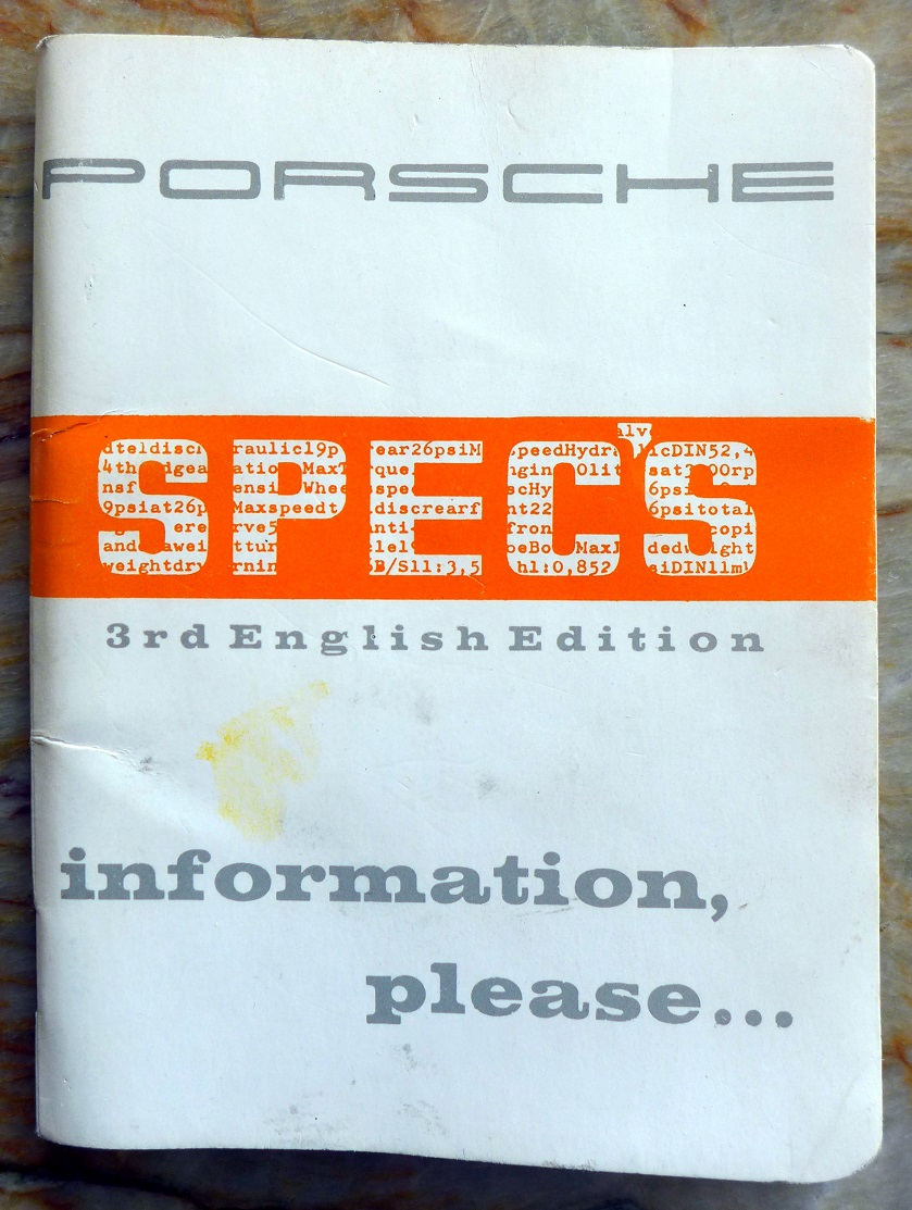 Porsche 356 Specs original vintage technical book