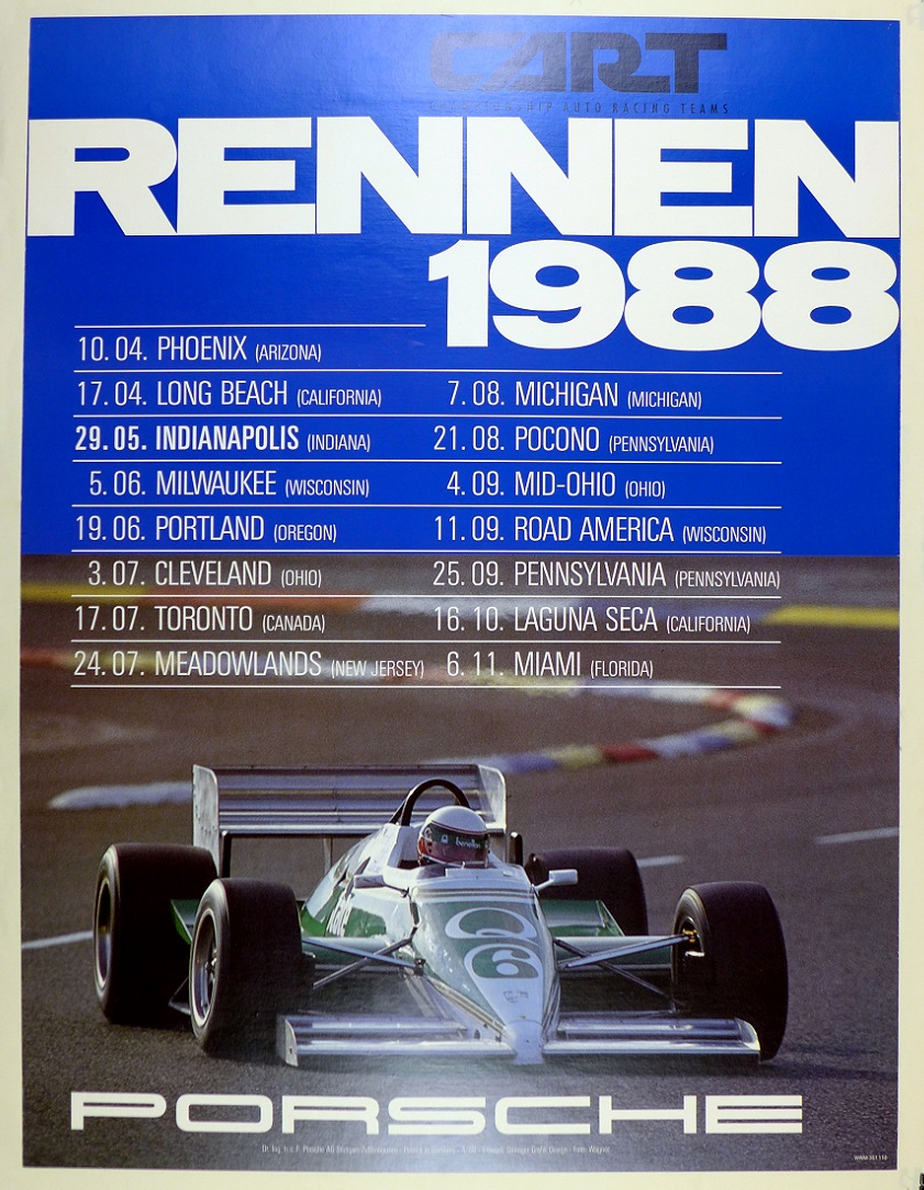Rennen, 1988, CART Indy, Porsche Factory racing poster