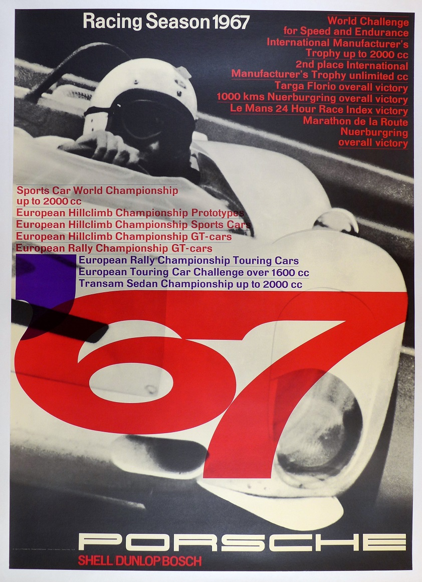 Racing Season 1967 original vintage Porsche Factory commemorative racing  Volz