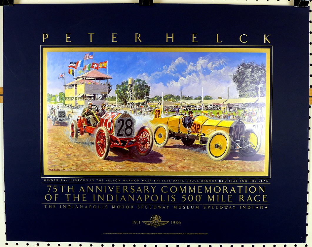 Indy 500 anniversary original vintage auto race commemorative Peter Helck