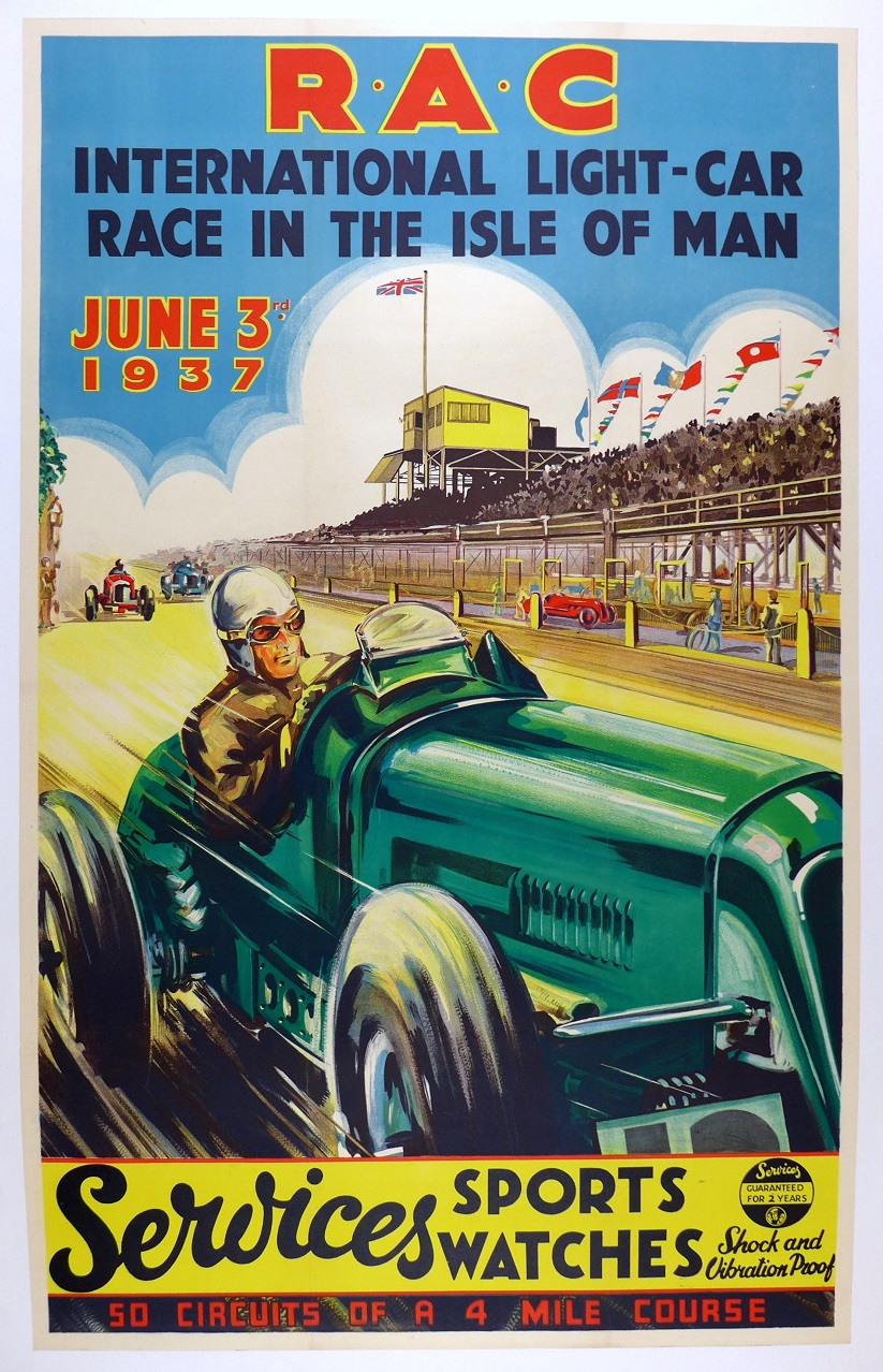 RAC Isle of Man original vintage auto race event poster Prince Bira ERA