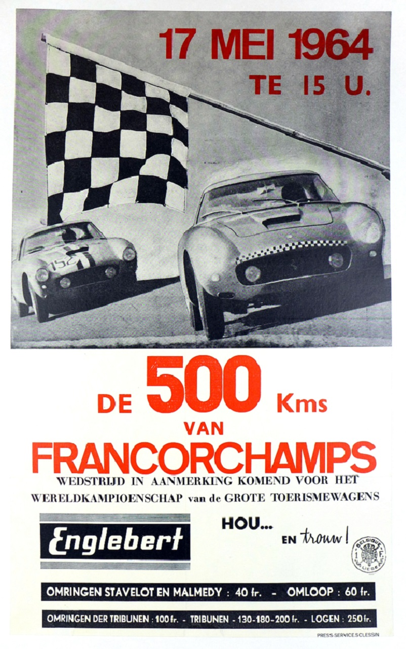 1964 Spa Francorchamps original vintage auto race event poster