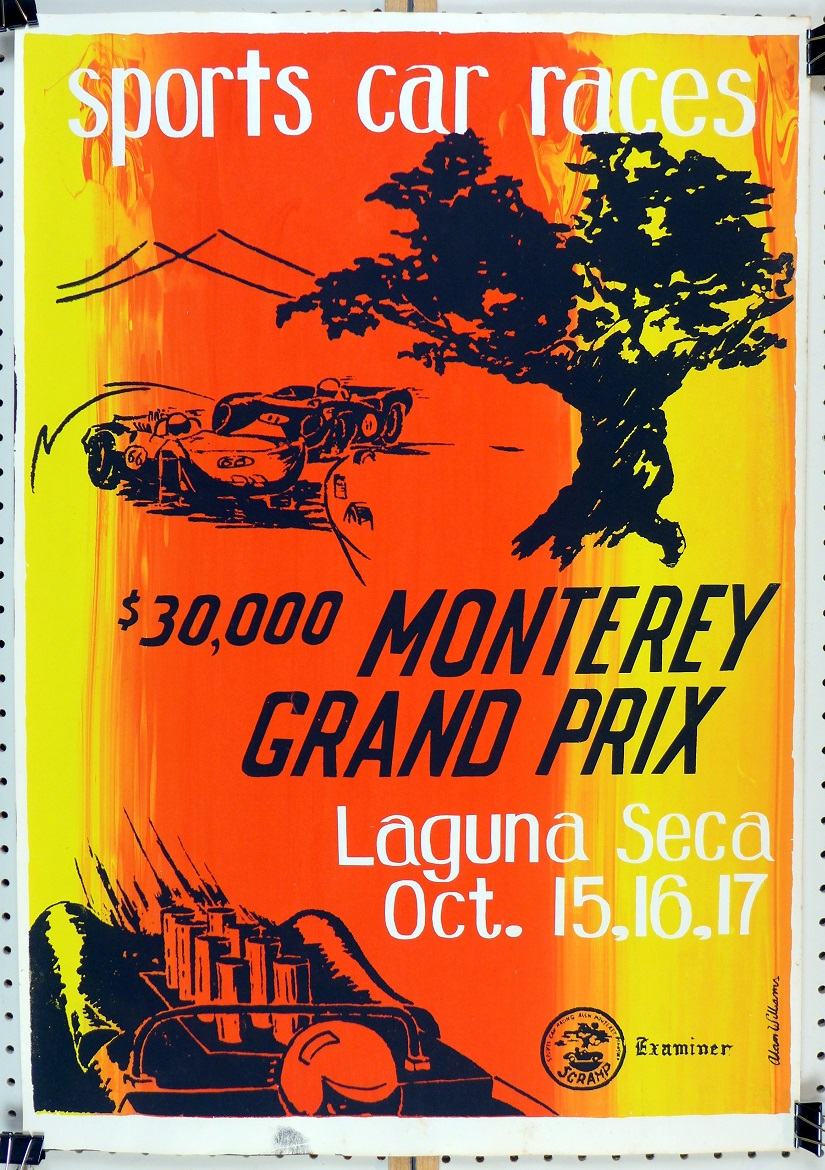 1965 Monterey Grand Prix original vintage sports racing event poster Laguna Seca