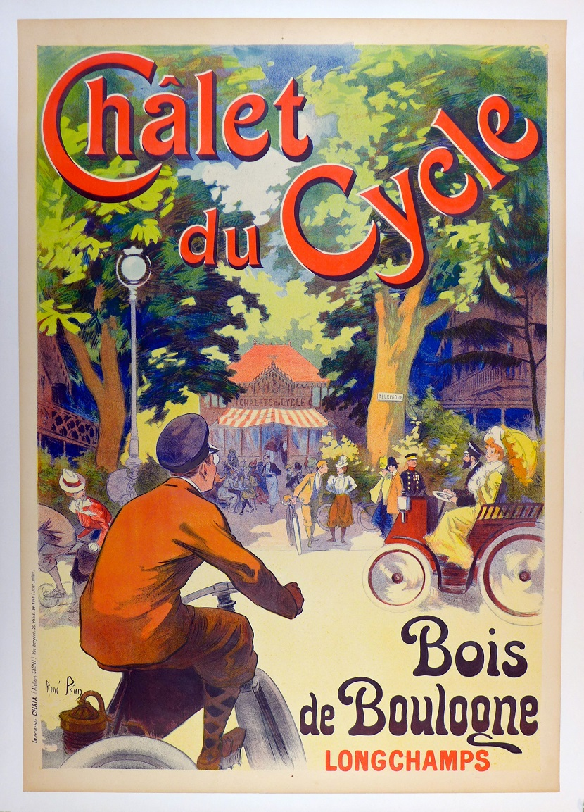 Chalet de Cycle original vintage advertising poster for this shop in Paris, circa 1905