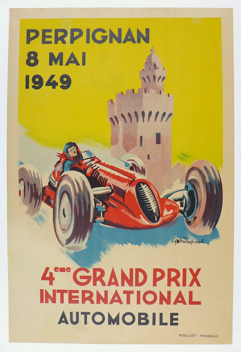 Perpignan Grand Prix, 1949, original vintage auto race advertising poster