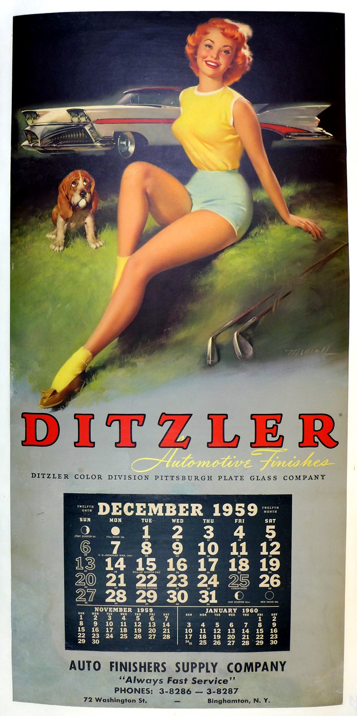 Ditzler 1959 pin-up calendar original vintage