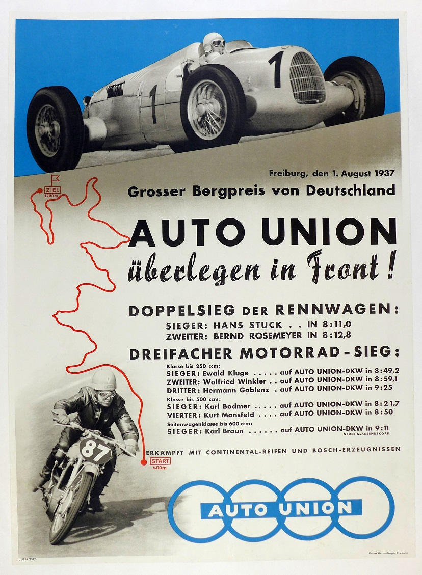1937 Grosser Bergpreis Germany Auto Union original vintage race commemorative poster