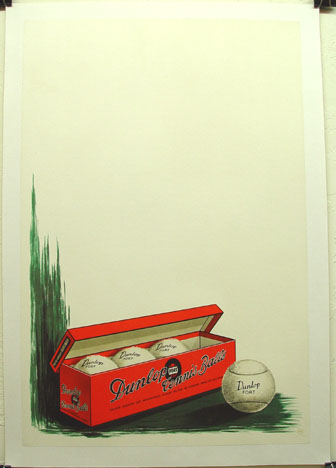 Dunlop Fort Tennis balls original vintage advertising poster