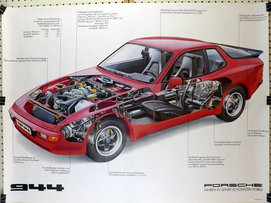 944 cut-a-way original vintage Porsche Factory showroom poster